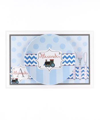 Blue Train Personalized Dining Set