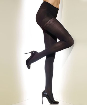 Black Opaque Shaper Tights - Women & Plus