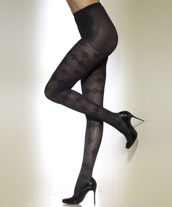 Black Abstract Control-Top Shaper Tights - Women & Plus