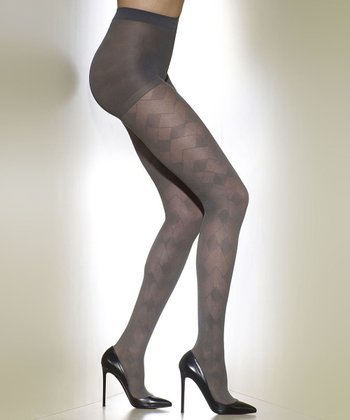 Gray Abstract Control-Top Shaper Tights - Women & Plus