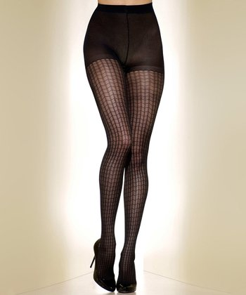 Black Web Control-Top Shaper Tights - Women & Plus