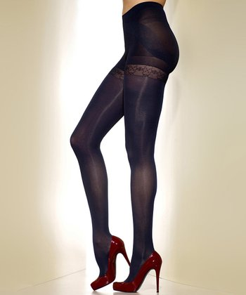 Navy Opaque Shaper Tights - Women & Plus