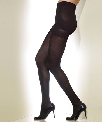 Black Tuxedo Ribbed Shaper Tights - Women & Plus