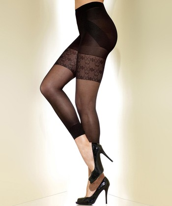 Black Sheer Shaper Capri Tights - Women & Plus