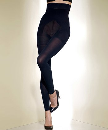 Black Opaque High-Waist Footless Shaper Tights - Women & Plus