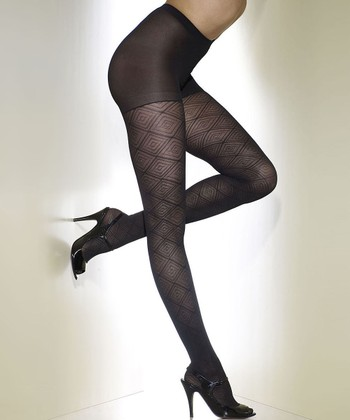 Black Maze Control-Top Shaper Tights - Women & Plus
