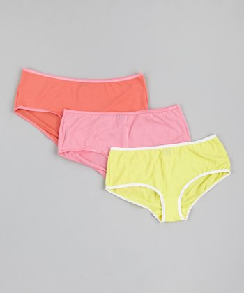 Lemon Drop, Pink & Sunkist Coral Briefs Set