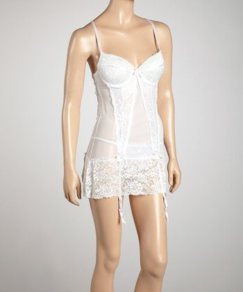White & Light Pink Chemise & G-String