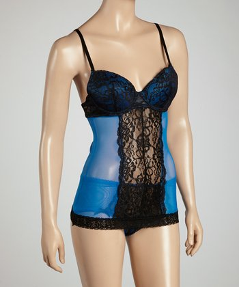 Black & Electric Blue Lemonade Lace Camisole & Hipster