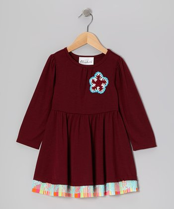 Burgundy Flower Dress - Toddler & Girls