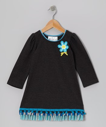 Charcoal & Turquoise Flower Pom-Pom Dress - Toddler & Girls