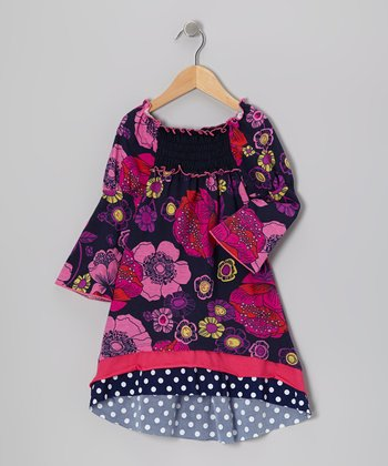 Navy Shirred Floral Dress - Toddler & Girls