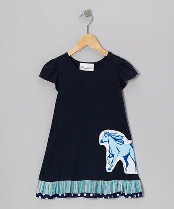 Navy Horse Dress - Toddler & Girls