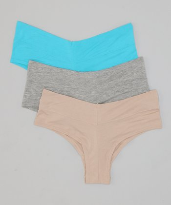 California Blue, Heather Gray & Skin Hipster Set