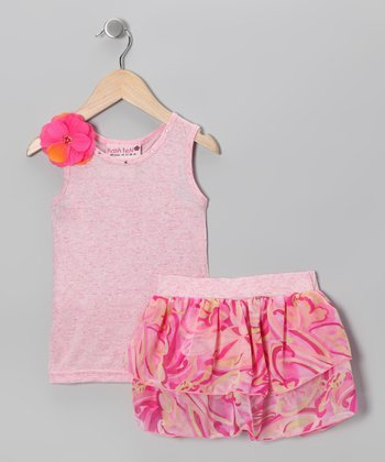 Pink Watercolor Tank & Ruffle Skirt - Toddler