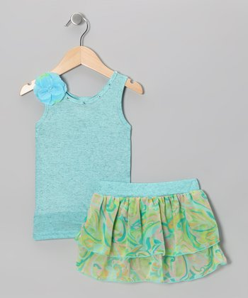 Teal Watercolor Tank & Ruffle Skirt - Toddler & Girls