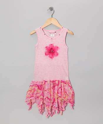 Pink Watercolor Handkerchief Dress - Toddler & Girls