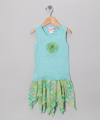 Teal Watercolor Handkerchief Dress - Toddler & Girls