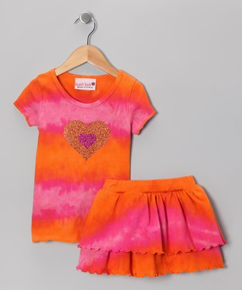 Raspberry & Tangerine Tie-Dye Tee & Skirt - Toddler