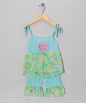 Jade Watercolor Ruffle Top & Pants - Infant, Toddler & Girls