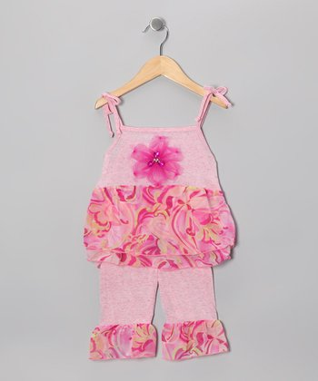 Magenta Watercolor Ruffle Top & Pants - Toddler