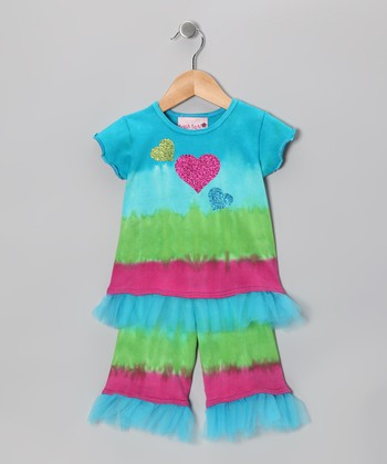 Ocean Ruffle Swing Top & Flare Pants - Infant, Toddler & Girls