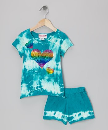 Jade Twist Tie-Dye Tee & Shorts - Toddler & Girls