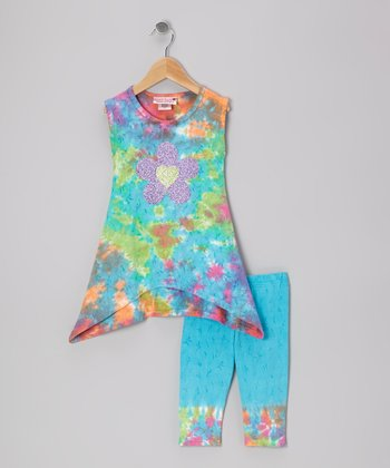 Pastel Rainbow Flower Tunic & Capri Leggings - Toddler & Girls