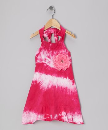 Raspberry Twist Tie-Dye Halter Dress - Toddler & Girls
