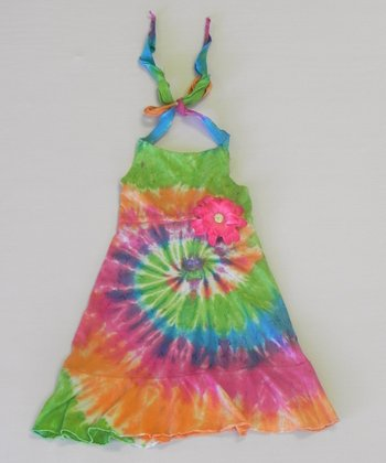 Pastel Rainbow Tie-Dye Halter Dress - Toddler & Girls