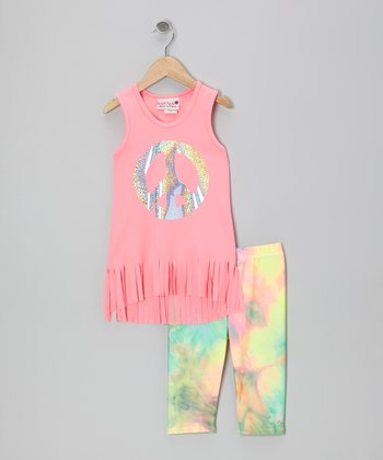 Neon Pink Peace Fringe Tank & Capri Leggings - Toddler & Girls
