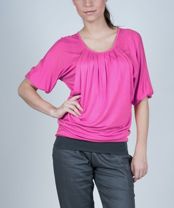 Pink Operetta Maternity & Nursing Scoop Neck Top - Women