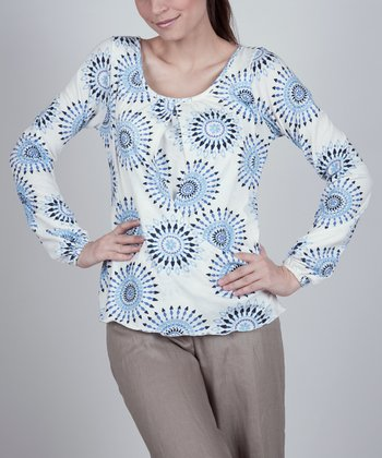 Blue & White Circles Nursing Long-Sleeve Top - Women
