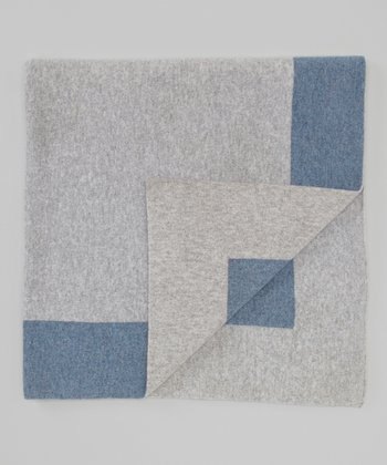 Gray & Vintage Blue Cashmere Receiving Blanket