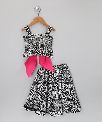Black & White Zebra Tank & Skirt - Infant, Toddler & Girls
