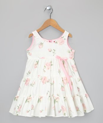 White & Pink Rose Tier Dress - Toddler & Girls