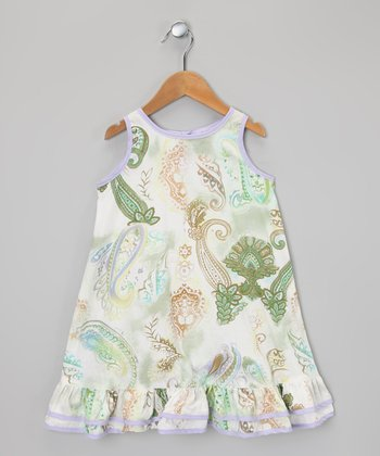 Green & Purple Paisley Ruffle Dress - Infant, Toddler & Girls