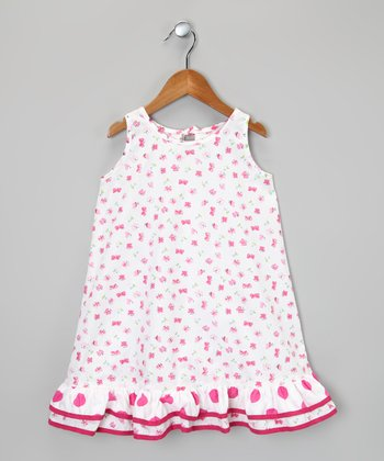 White & Hot Pink Butterfly Ruffle Dress - Infant, Toddler & Girls