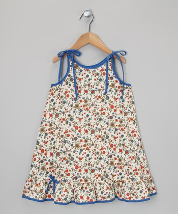 Cream & Blue Floral Ruffle Dress - Toddler & Girls