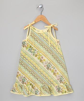 Yellow & Green Floral Stripe Ruffle Dress - Infant, Toddler & Girls