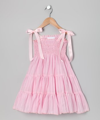 Pink Stripe Shirred Dress - Infant, Toddler & Girls
