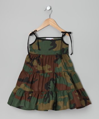 Green & Brown Camo Tier Dress - Infant, Toddler & Girls