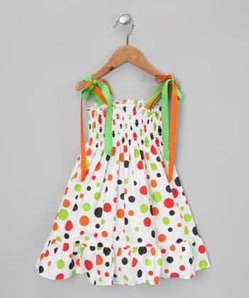 White & Orange Polka Dot Dress - Infant, Toddler & Girls