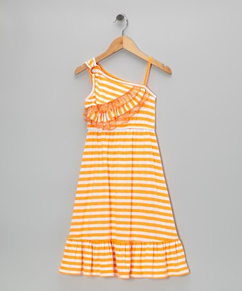 Orange Stripe Asymmetrical Chiffon Maxi Dress