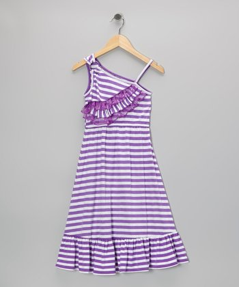 Purple Stripe Asymmetrical Chiffon Maxi Dress
