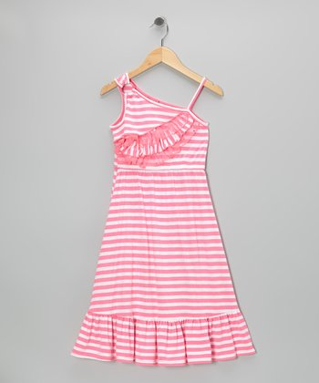 Pink Stripe Asymmetrical Chiffon Maxi Dress