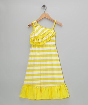 Yellow Stripe Asymmetrical Maxi Dress