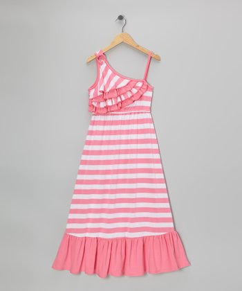 Pink Stripe Asymmetrical Maxi Dress