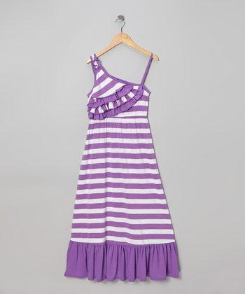 Purple Stripe Asymmetrical Maxi Dress