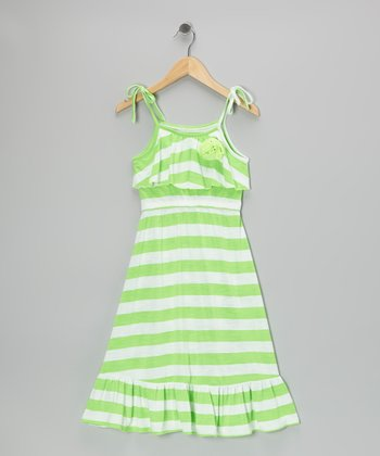Green Stripe Ruffle Maxi Dress